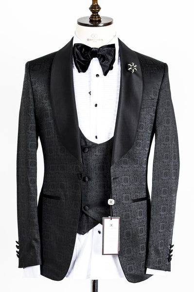 Connaisseur - Black square Pattern Tux with Double Breasted Vest