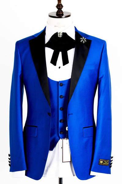 Connaisseur - Royal Blue Notch Lapel Slim Fit Tux