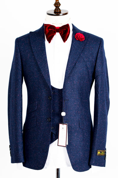 Connaisseur - Navy blue with pink and blue spots 3-Piece Slimfit Suit with double breasted U vest