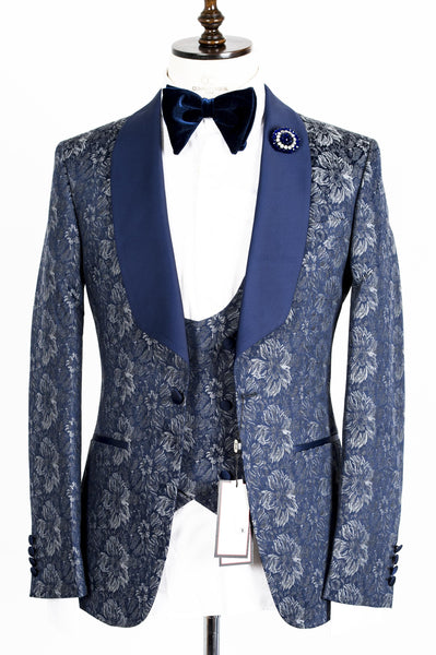 Connaisseur - Blue and Grey floral Pattern Tux with Double Breasted Vest