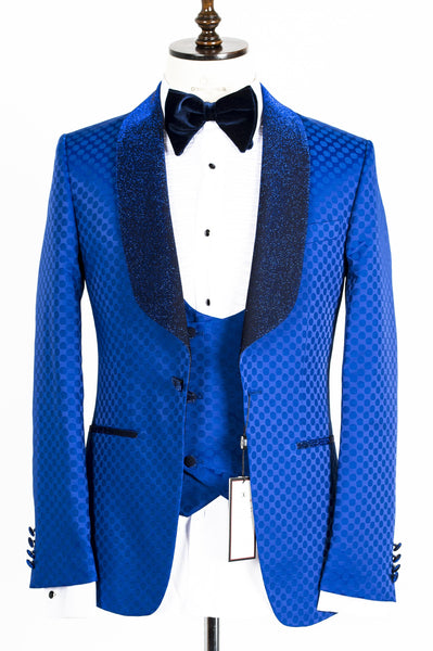 Connaisseur - Royal blue Polka Dot Tux with Double Breasted Vest