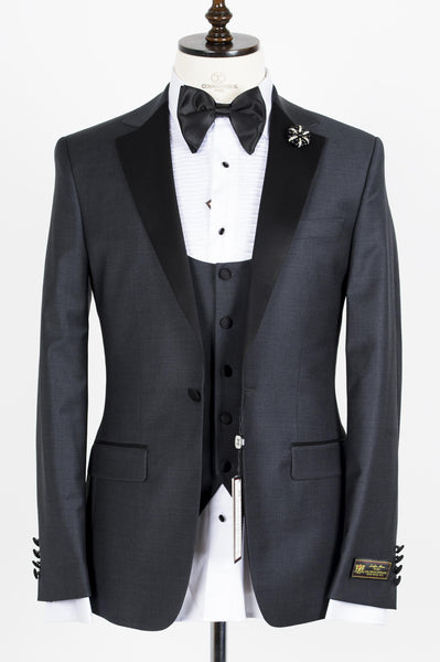 Connaisseur - Charcoal Grey Notch Lapel Slim Fit Tux