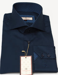 Connaisseur - Navy Blue raised spread collar Slim Fit Shirt