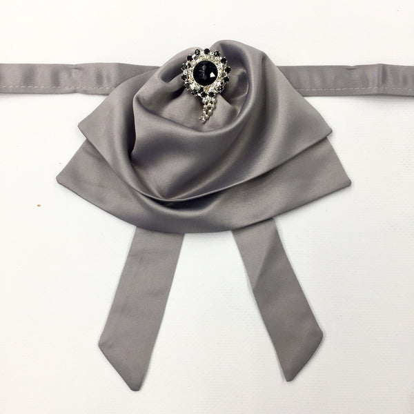 Light Grey Fluffy Bow Tie