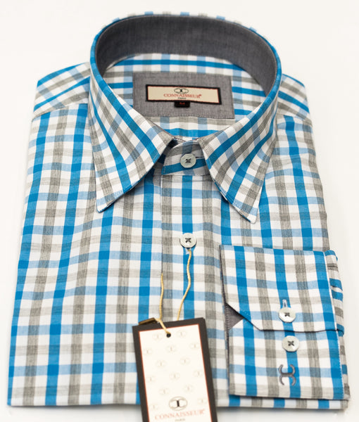 Connaisseur - Aqua and Grey check Linen Slim Fit Shirt