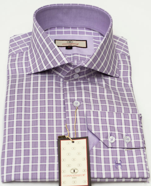 Connaisseur - Lavender with white Check raised spread collar Slim Fit Shirt