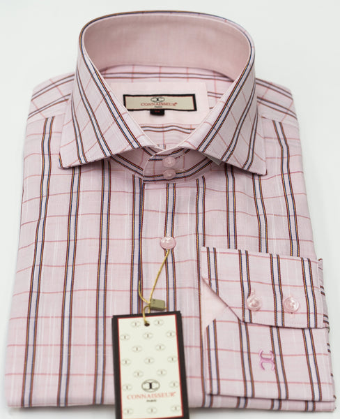 Connaisseur - Light Pink Check raised spread collar Slim Fit Shirt