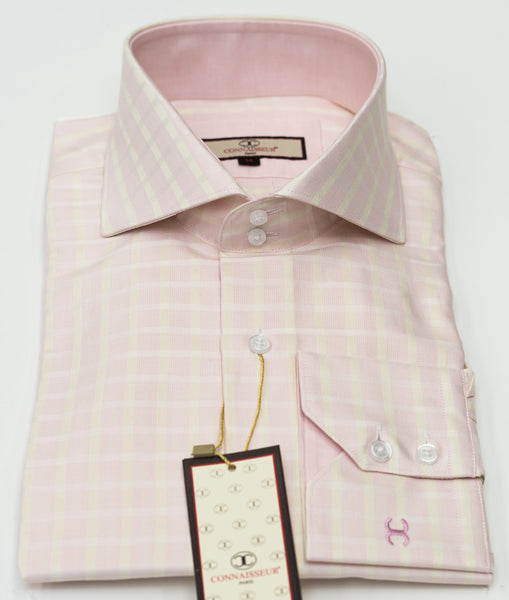 Connaisseur - Light Pink with cream check raised spread collar Slim Fit Shirt