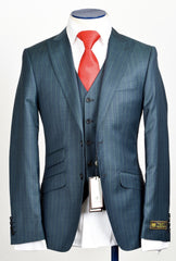 Connaisseur - Bluish Green Pin Stripe 3-Piece Suit