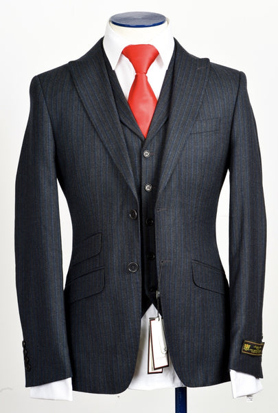 Connaisseur - Dark Grey Pin stripe cashmere 3-Piece slim Fit Suit
