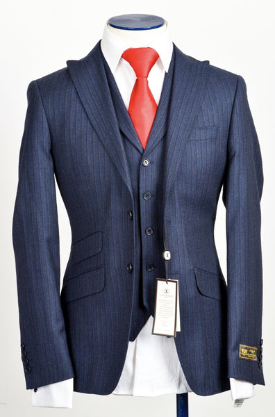 Connaisseur - Dark Blue Pin stripe cashmere 3-Piece slim Fit Suit