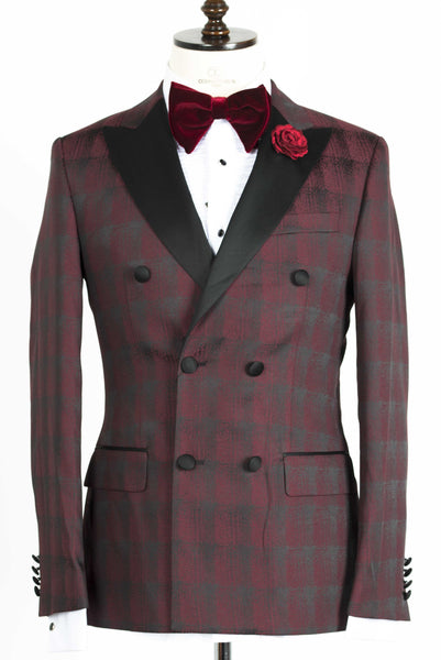 Connaisseur - Burgundy and Black Plaid Double Breasted tuxedo