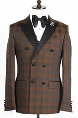 Connaisseur - Brown and Black Plaid Double Breasted tuxedo