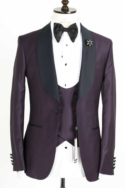Connaisseur - Plum purple Shawl Lapel Slim Fit Tux with double breasted U vest