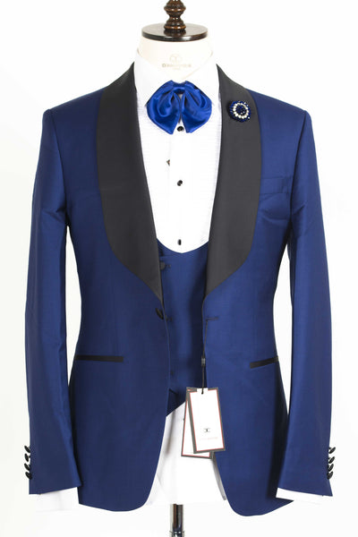 Connaisseur - Deep Blue Shawl Lapel Slim Fit Tux with double breasted U vest
