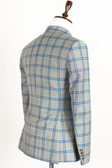 Connaisseur - Grey with blue plaid Slim Fit Blazer