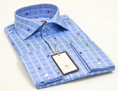 Connaisseur - Light blue butterfly pattern raised spread collar Slim Fit Shirt