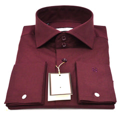 Connaisseur - Maroon raised spread Collar Slim Fit Shirt