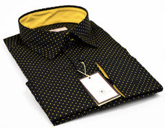 Connaisseur - Black with yellow dots Slim Fit Shirt