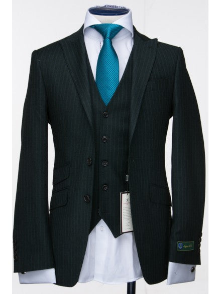 Connaisseur Flannel Dark Green Pin Stripe 3-Piece Suit