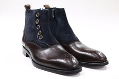 Connaisseur - Coffee brown with navy blue swede boots