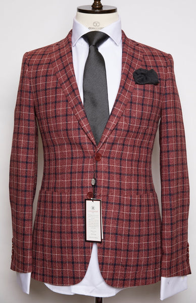 Vitale Barberis - Red with Navy Blue and White Plaid Slim Fit Suit with Patch pockets and Elbow Patch