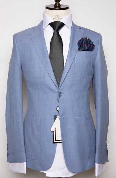 Vitale Barberis - Sky Blue Slim Fit Suit with Patch pockets and Elbow Patch