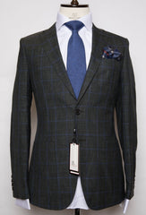Loro Piana - Charcoal Grey with Blue Plaid Slim Fit Suit with Patch pockets and Elbow Patch
