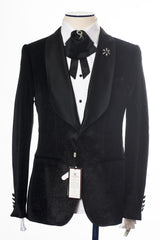 Connaisseur - Black Velvet Glittering Pattern 3-Piece Slim Fit Tux