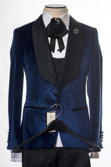 Connaisseur - Blue Velvet Glittering Pattern 3-Piece Slim Fit Tux