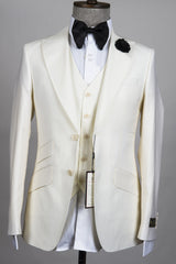 Connaisseur - Off White 3-Piece slim Fit Suit