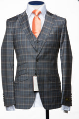 Connaisseur - Grey with Brown Plaid 3-Piece Slim Fit Suit