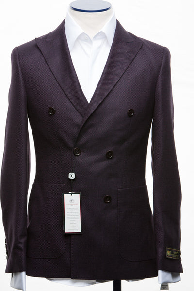 Connaisseur - Purple wool/cashmere blend Double Breasted Slim Fit Jacket