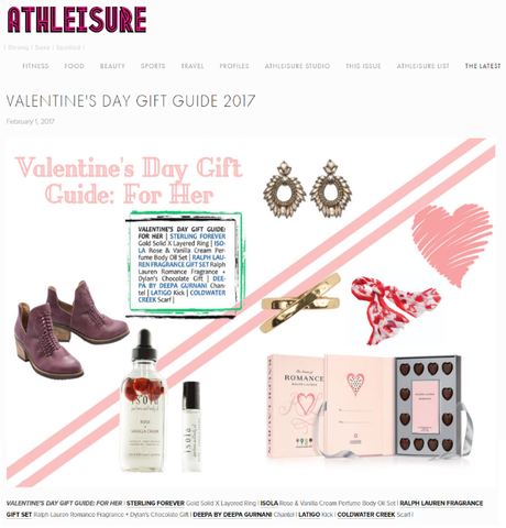 Isola has been featured in Athleisure Mag online in their Valentine's Day Gift Guide section
