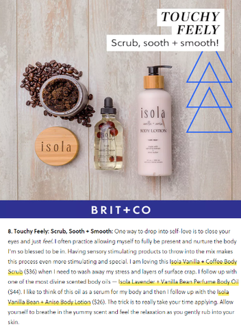 Brit+Co featured Isola in their Beauty Products and Practices for Self Care story