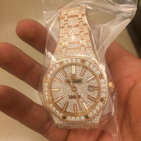 Audamars Piguet 18k Rose Gold Royal Oak Customized F VS Diamonds