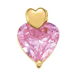 14k Gold Light Pink Heart Cut Amethyst Pendant