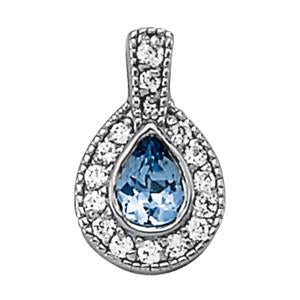 3/8 ct tw 14k Gold Pear Cut Color Gemstone and Diamond Pendant with F Color VS Clarity Diamonds
