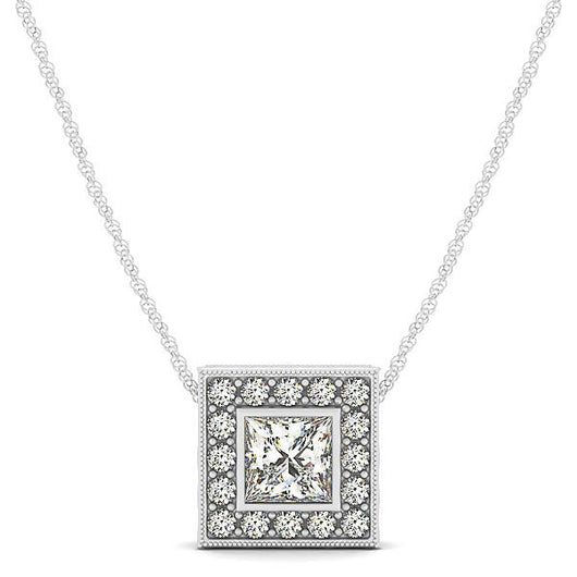 1/4 ct tw Princess Cut GIA Certified Diamond Halo Pendant with F Color VS Clarity Diamonds