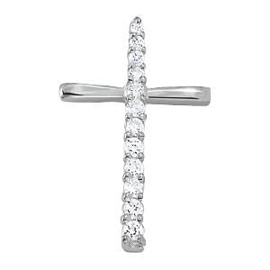 3/4 ct tw Diamond Cross Pendant with F Color VS Clarity Diamonds