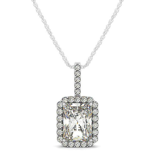 1/5 ct tw GIA Certified Diamond Halo Pendant with F Color VS Clarity Diamonds,14k Gold Emerald Cut Pendant