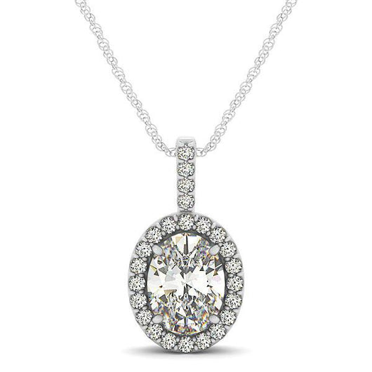 1/4 ct tw GIA Certified Diamond Halo Pendant with F Color VS Clarity Diamonds,Oval Cut Color Gemstone and Diamond Pendant with F Color VS Clarity Diamonds