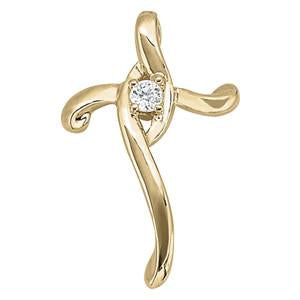 1/20 ct tw Diamond Cross Pendant with F Color VS Clarity Diamonds