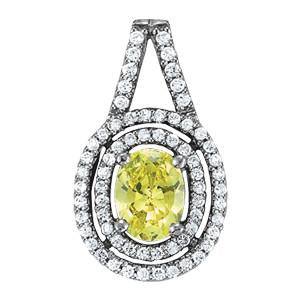 5/8 ct tw Oval Cut Color Gemstone and Diamond Pendant with F Color VS Clarity Diamonds