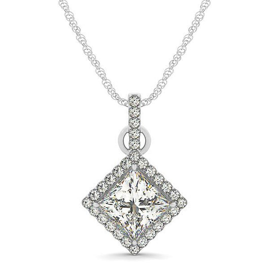1/6 ct tw Cushion Cut Color Gemstone and Diamond Pendant with F Color VS Clarity Diamonds