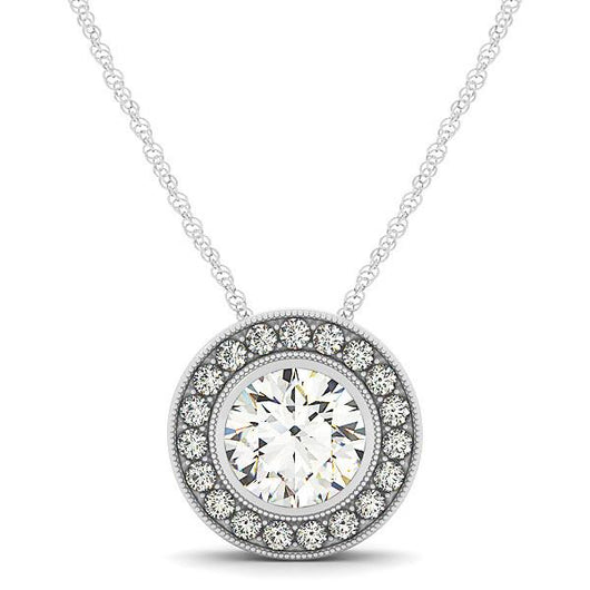 1 3/4 ct tw GIA Certified Diamond Halo Pendant with F Color VS Clarity Diamonds