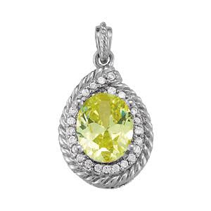 1/5 ct tw Oval Cut Color Gemstone and Diamond Pendant with F Color VS Clarity Diamonds