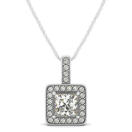 1/4 ct tw GIA Certified Diamond Halo Pendant with F Color VS Clarity Diamonds,Pendant Color Square