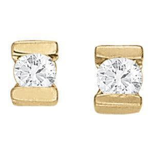 Solitaire Diamond Earrings with F Color VS Clarity Diamonds