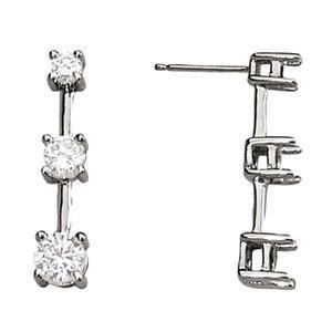 Three Stone Diamond Earrings with F Color VS Clarity Diamonds